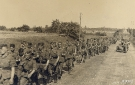 Column of Marching German Troops on the Road
