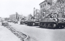 US Sherman Tanks of Patton\'s 3rd Army enter Bayreuth