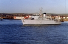 M40 HMS Berkeley (Hunt Class Minesweeper) Photographed January 1993. Sold to Greek Navy in 2001