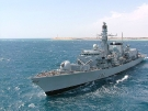 F82 HMS Somerset (Type 23 Duke Class Frigate) off Cape Trafalgar, June 2005 for the 200th Anniversary of Nelson\'s Victory at the Battle of Trafalgar