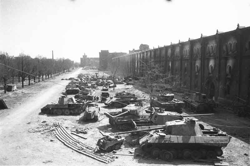 Berlin May-June 1945 (261) Panthers Tanks at Rest
