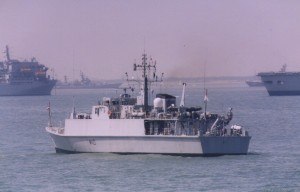 HMS Ramsey (M110) Sandown Class Minehunter, photographed of Portsmouth in June 2005