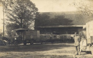 German Motor Ambulance with Stretcher Trailers